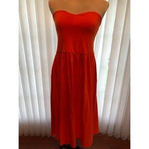 ASOS Orange Strapless Midi Dress